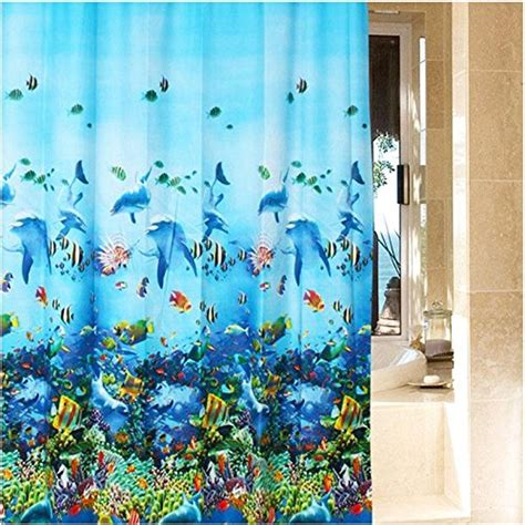 ocean shower curtains waterproof bathroom ocean sea life fabric shower curtain