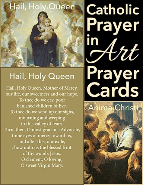printable version of hail holy queen catholic prayer in art prayer cards warm hearts publishing