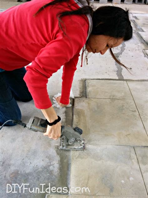 Patios With Fire Pits Designs Gorgeous Diy Stamped Concrete Tile Driveway For Less