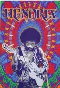 Black Light Posters Jimi Hendrix Guitar Fabric Poster