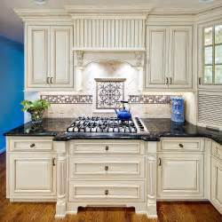 Kitchen Countertop And Backsplash Ideas by Mexican Tile With Granite White Kitchen Cabinets With