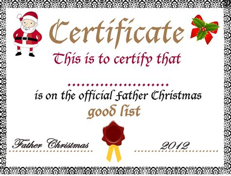 father christmas good list certificate free template