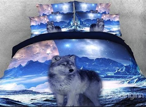 onlwe  mountain wolf printed cotton  piece bedding sets