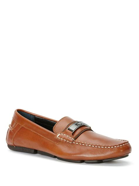 klein loafer lyst calvin klein mchale loafers in brown for