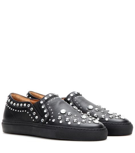 givenchy slip on sneakers givenchy embellished leather slip on sneakers in black lyst
