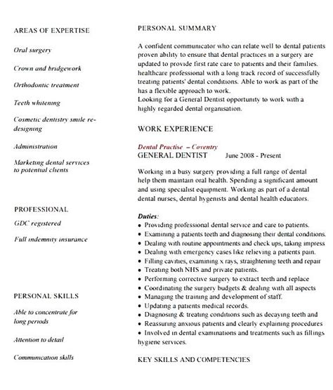 resume dentist template 28 images dental assistant cv