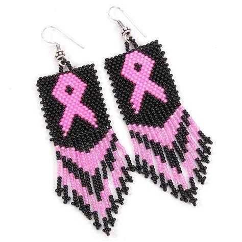 Black Pink Ribbon Big Seed Bead Earrings Breast Cancer