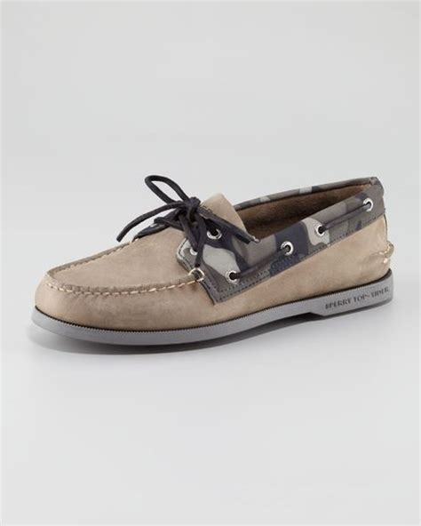vans boat shoes camo sperry top sider camotrim twoeye boat shoe in gray for men