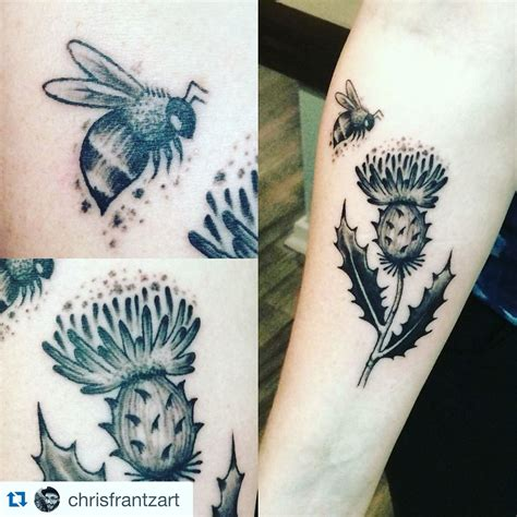 watercolor tattoos fort collins new ink scottish thistle and bumble bee from chris frantz