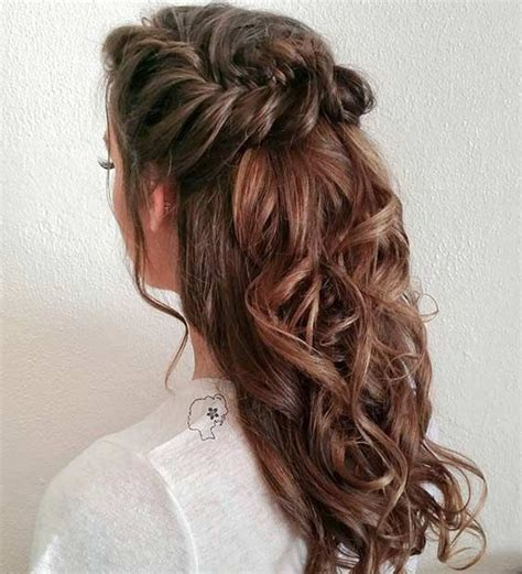 half up hairstyles for hair medium length hairstyles in the curly half up and half