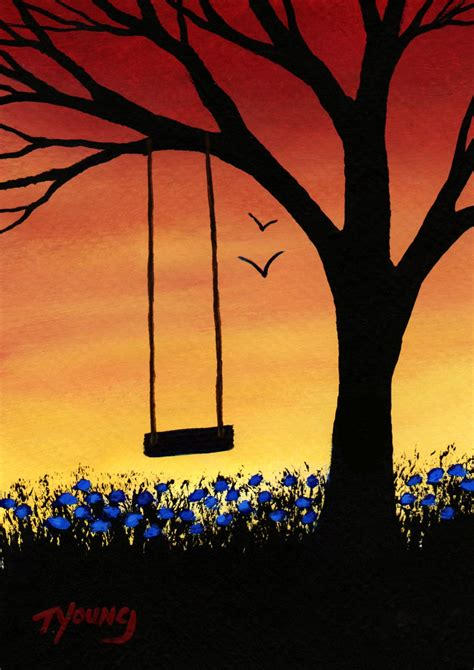 art swing tree swing modern folk art print of todd young painting last