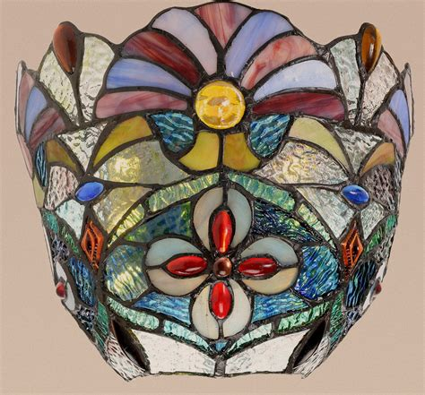 Stained Glass Wall Sconce Style Stained Glass Jeweled Carnival Wireless Led Wall Sconce New Ebay
