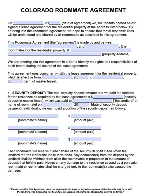 downloadable lease agreement template free colorado roommate agreement template pdf word