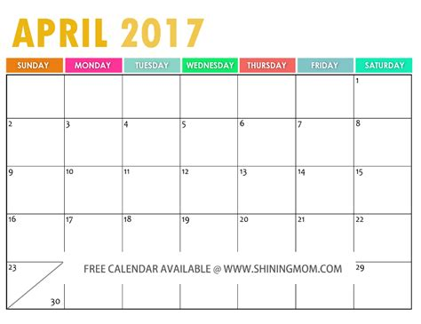 Kalender April Free April 2017 Calendar Printable Templates Webelations