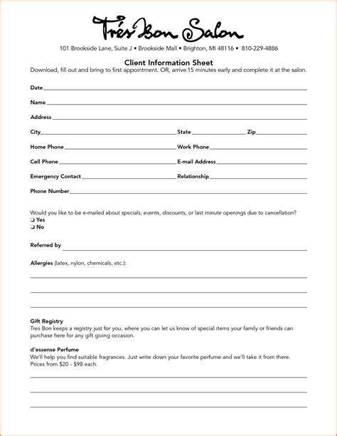 information cards template 10 client information sheet template