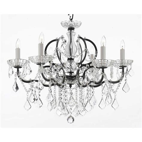 Black Iron Chandelier With Crystals Versailles 6 Light Iron And Crystal Black Chandelier T40