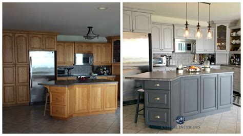 how to paint kitchen cabinets grey before and after painted oak kitchen cabinets in gray