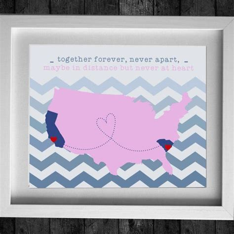 personalized usa art print map long distance friendship