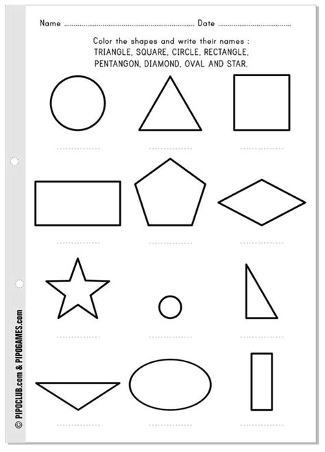 free printable shapes with names the shapes free printable activity to write and learn