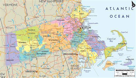 county map with cities and roads detailed political map of massachusetts ezilon maps