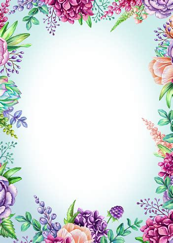 watercolor illustration vertical poster floral background