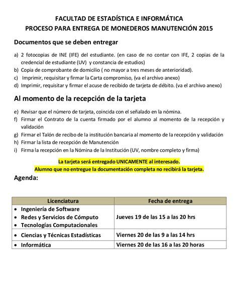 proceso de entrega de monederos de beca manutenci 243 n facultad de estad 237 stica e inform 225 tica