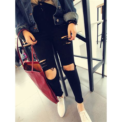skinny jeans in or oyt in 2015 women black skinny ripped hole high waist jeans cut out