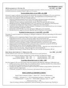 sle technical project manager resume information technology specialist sle resume