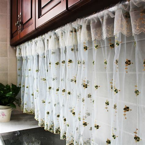 Sheer Kitchen Window Curtains New Window Curtain Cortinas Tulle Blinds Kitchen Half Curtains Door Sheer Coffee Balloon Curtain