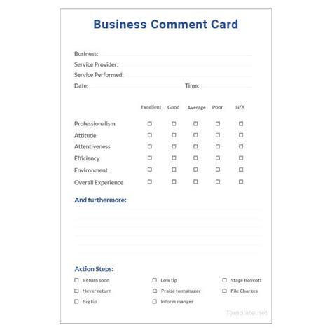 business comment card template 18 comment card templates psd ai eps free premium