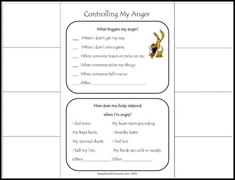 printable anger management activities 17 best images of coping skills activities worksheets