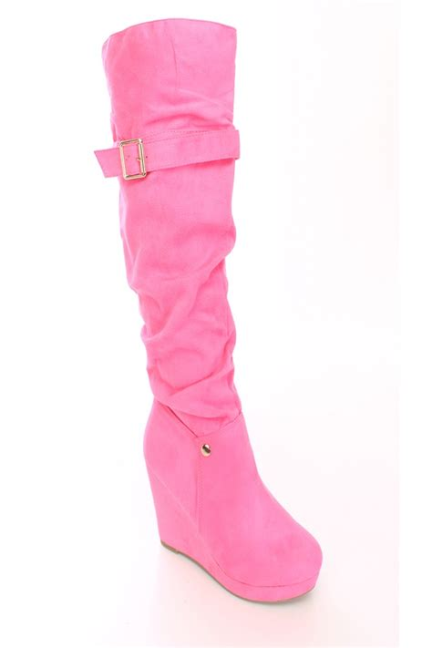 pink slouchy wedge boots faux suede