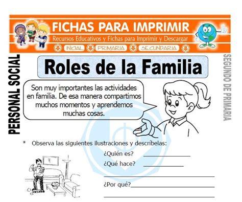 preguntas de roles familiares ficha de roles de la familia segundo de primaria hojas