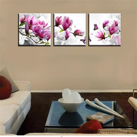 art wall decor cool and beauty with flower bedroom wall luxury elegant canvas painting 3 panel wall art such