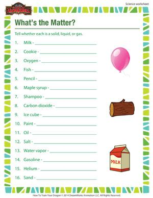 Grade Matter Worksheets by What S The Matter 3rd Grade Science Worksheet School