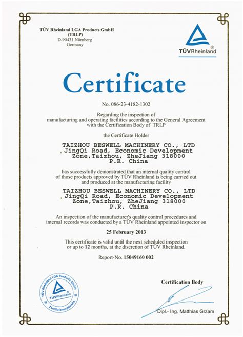 certificate of inspection template tuv factory inspection certificate taizhou beswell