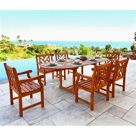7 piece wood patio dining set v144set7