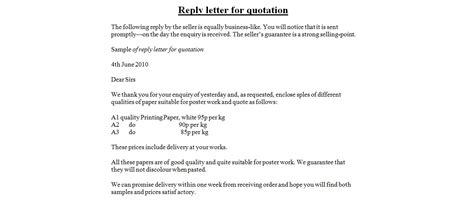 Business Letter Response To The Quotation reply letter for quotation business letter exles