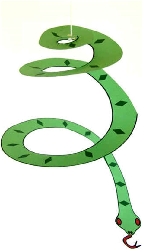 Paper Snake Craft - hanging spiral snake craft preschool crafts for