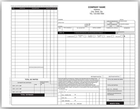 auto work standard auto repair forms