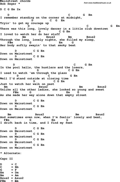 Song lyrics with guitar chords for Mainstreet