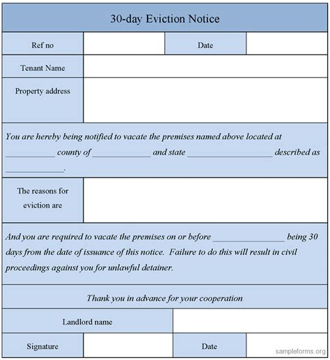 30 day eviction notice template eviction notice sle car interior design
