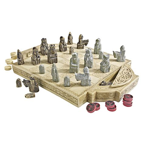 designer chess sets design toscano pd0685 isle of lewis chess and checkers set