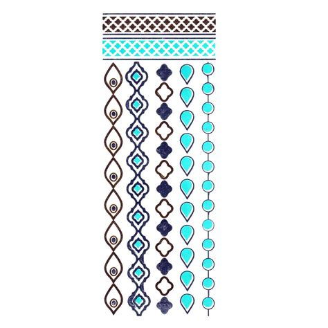 gold silver and turquoise metallic jewellery tattoo
