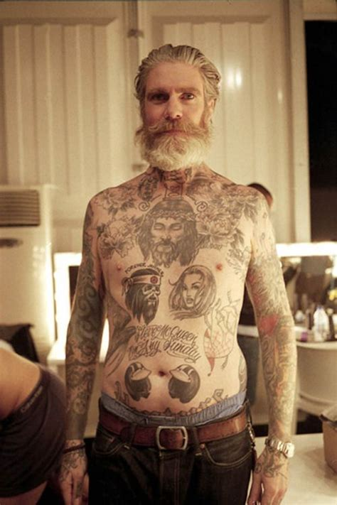 old man with tattoos beautiful bearded with lots of tattoos beards
