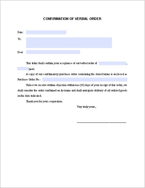 sle of formal confirmation letter confirmation letter for verbal order free fillable pdf forms