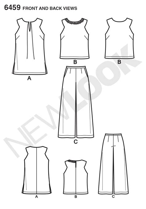 pattern review best patterns new look 6459 misses tunic or top and cropped pants