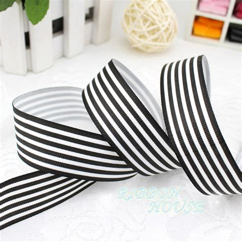 black and white striped gift wrap 5 yards lot 1 25mm black and white stripe grosgrain