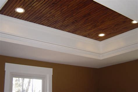 Ceiling Tray pin tray ceiling with a painted faux finish on