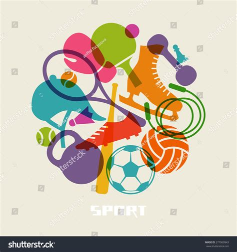 sport colors vector color sport equipment icon healthy stock vektor